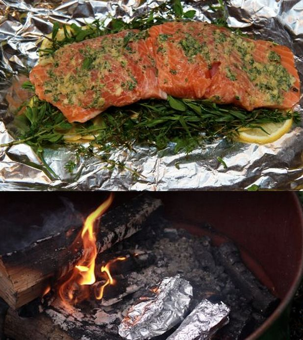 Dijon + herbs + lemon + olive oil + fish = a 15-minute campfire dinner that's equal parts easy and downright classy