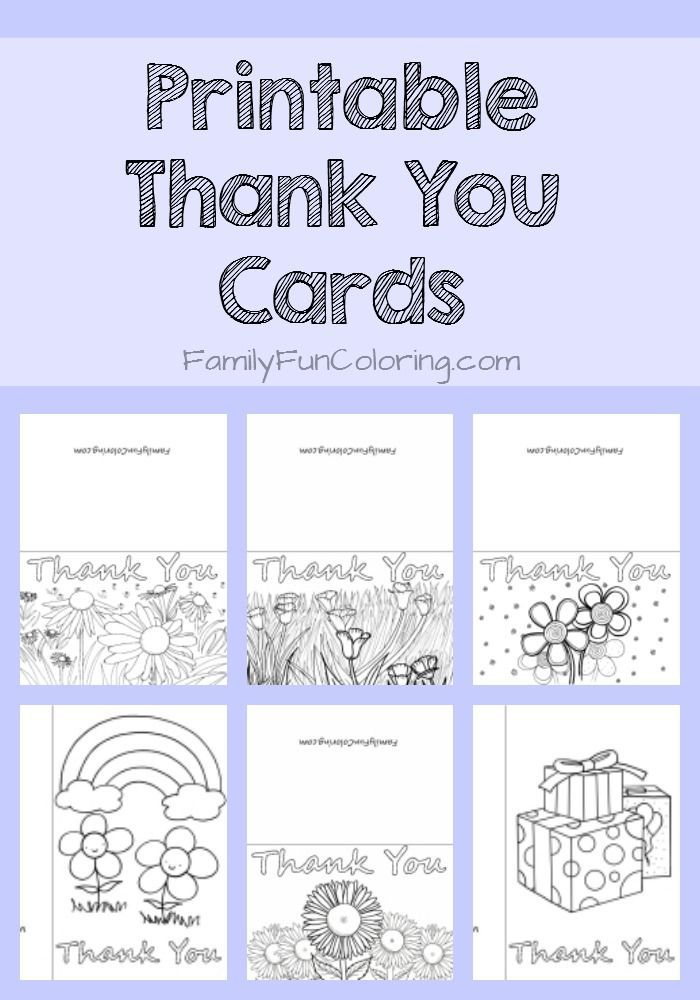 Printable Thank You Cards To Color Familyfuncoloring Printables