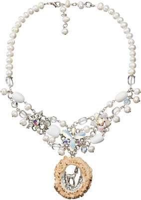 """Perlenkette """"Fauna"""" in Weiß-Creme-Silber - Trachtenkette von Alpenwahn"""