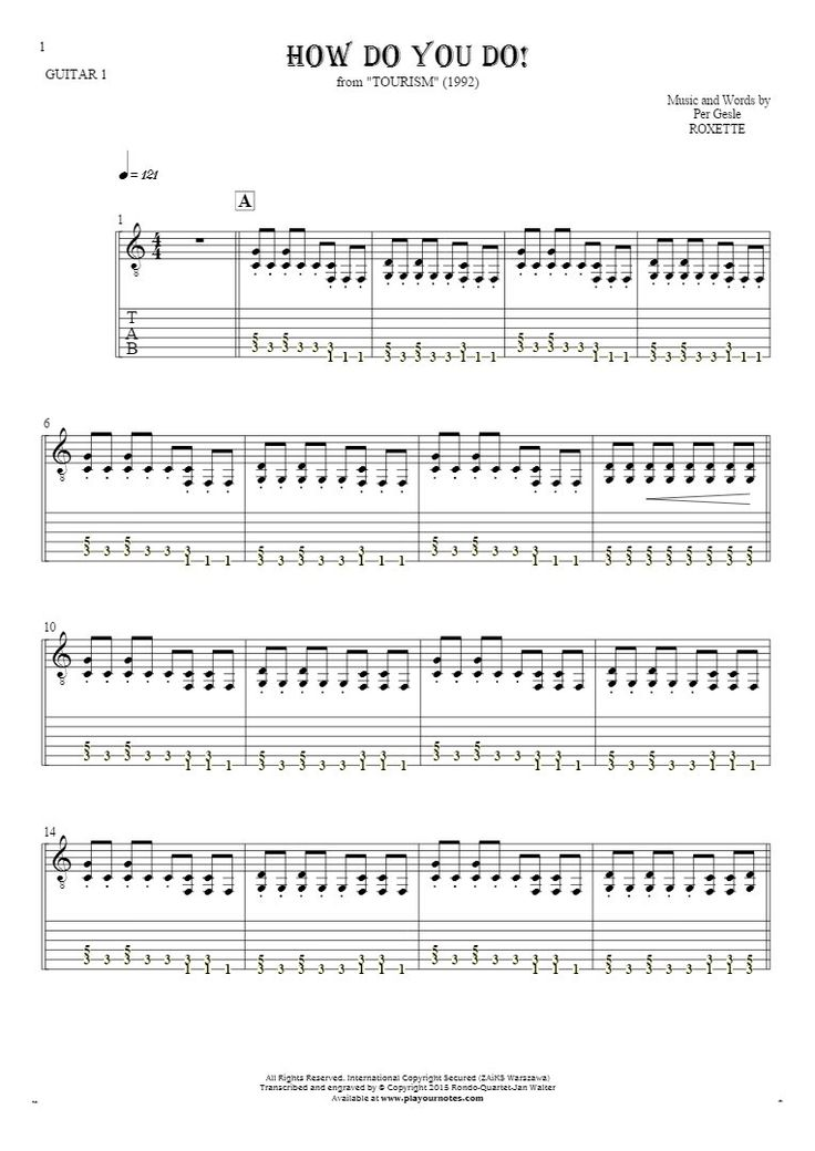 How Do You Do! sheet music by Roxette. From album Tourism (1992). Part: Notes and tablature for guitar - guitar 1 part.