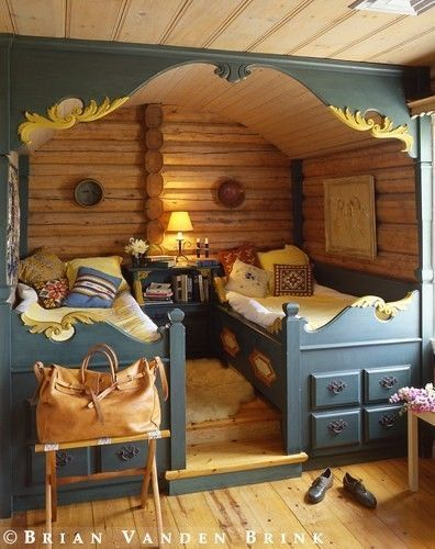 ornately carved and painted Norwegian beds: