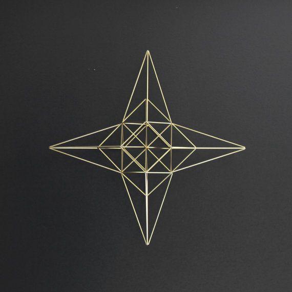 Large Brass Moravian Star Himmeli / Modern Hanging Mobile or Wreath / Geometric Sculpture