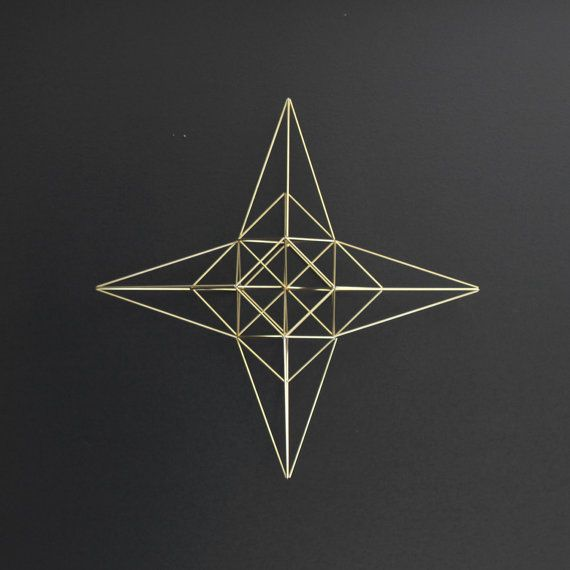 Large Brass Moravian Star Himmeli / Modern Hanging Mobile or Wreath / Geometric Sculpture on Etsy, $155.00