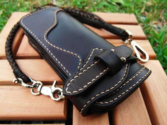 No Logo , Hand Stitch Brownie Long Wallet , Biker Wallet,Rider Wallet,Leather Chain Wallet,Hand made in Thailand