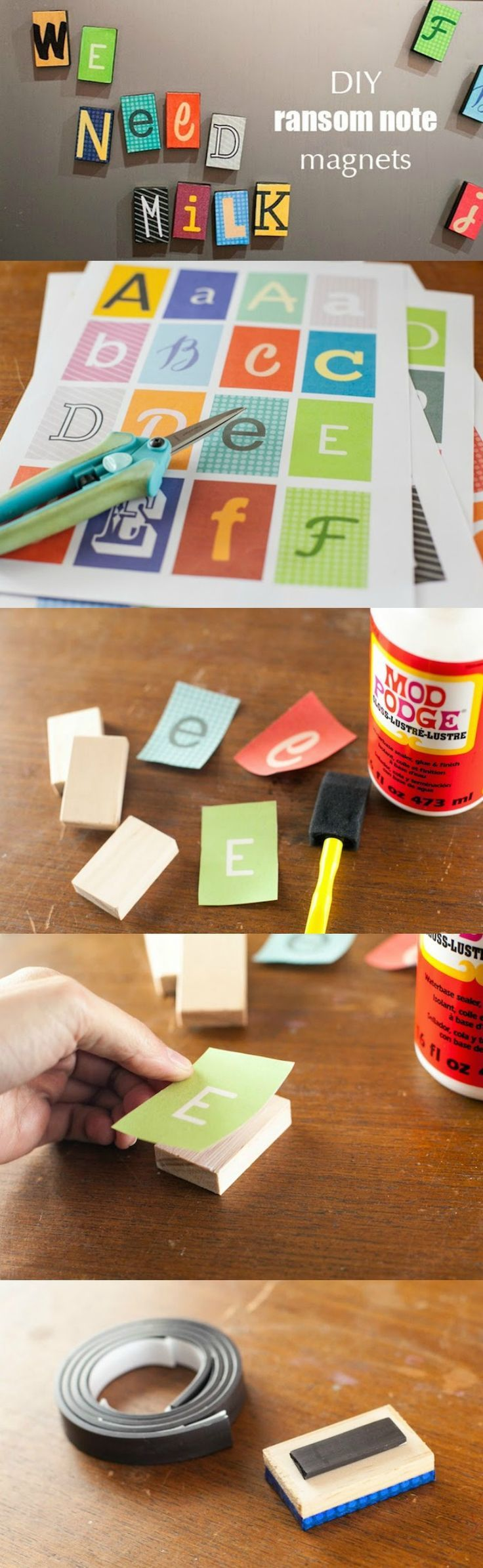 Alfabeto magnetico fai da te - These DIY magnets are so easy . . . and the ransom note font makes them fun, too! Make with Mod Podge . . . and you can also get the free printable by clicking through!