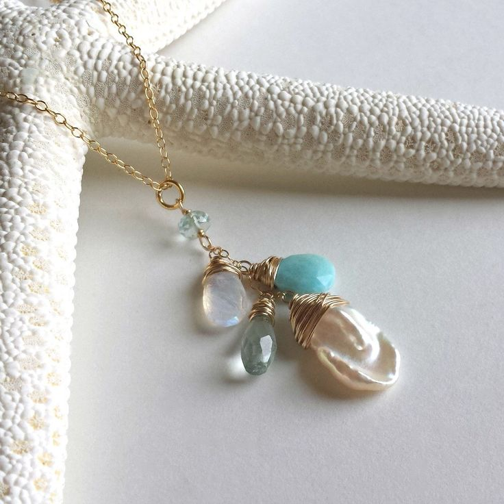 Pearl Gemstone Cluster Necklace, Pale Blue and White Necklace, Larimar, Aquamarine, Moonstone, Keshi Pearl by BellaAnelaJewelry on Etsy https://www.etsy.com/listing/464587208/pearl-gemstone-cluster-necklace-pale