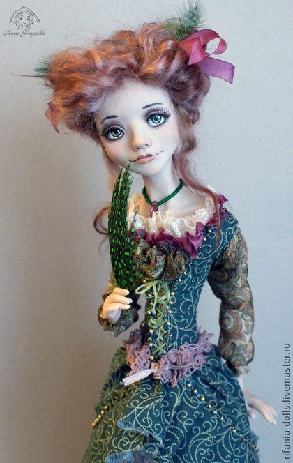 Коллекционные куклы ручной работы. Ярмарка Мастеров - ручная работа. Купить Мелисса. Handmade. Тёмно-зелёный, эксклюзив, перья