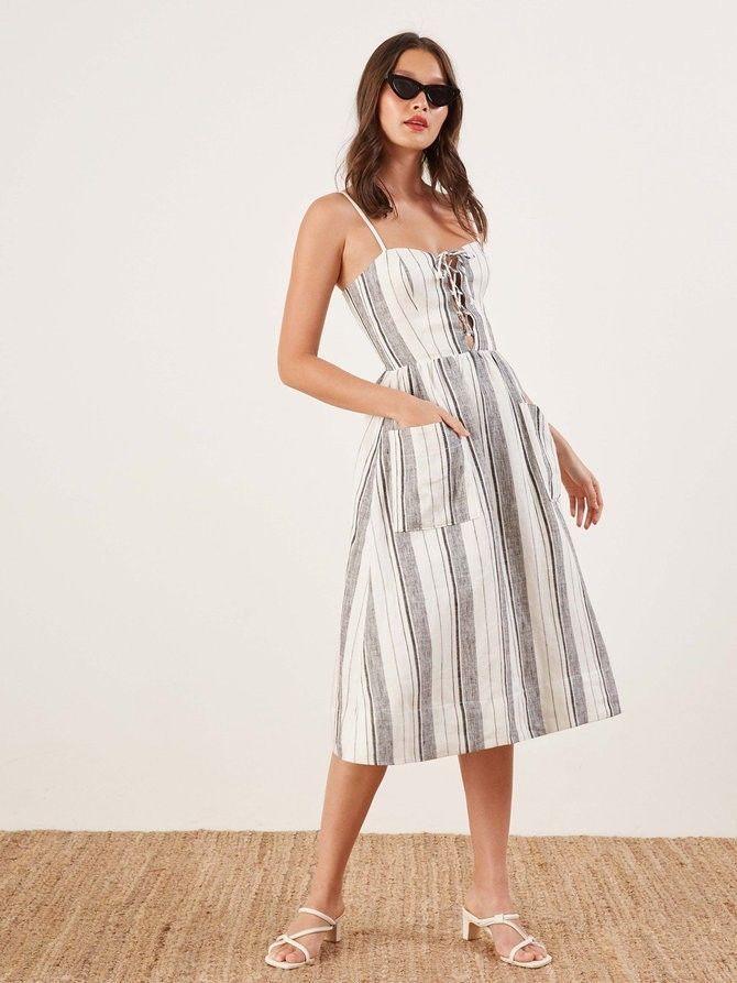 0a18fa1aa41a NWT The Reformation Ellen Linen Midi Dress Sz 2 (Women's) #fashion  #clothing #shoes #accessories #womensclothing #dresses (ebay link)