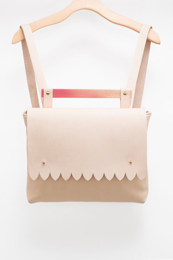 SALE Scalloped Nude Backpack. Spring Fashion Vegetable by noemiah