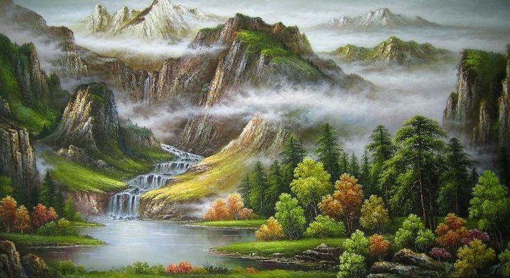 Схема вышивки «горный пейзаж» - Вышивка крестом