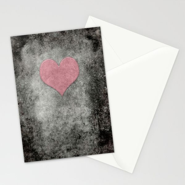Valentines Grunge Love in Opal Pink Stationery Cards by Bruce Stanfield | Society6