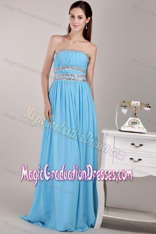 New Strapless Aqua Blue Beaded Full-length University Graduation Dress
