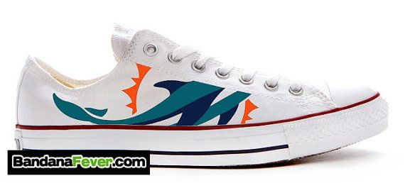 """Converse Low White """"Miami Dolphins"""" + FREE SHIPPING - by Bandana Fever on Etsy, $249.99"""