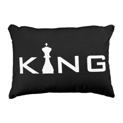 Cool King Typography Chess Player Accent Pillow