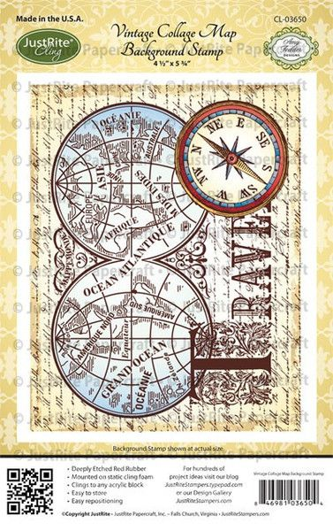 Vintage Collage Map  Background Cling Stamp
