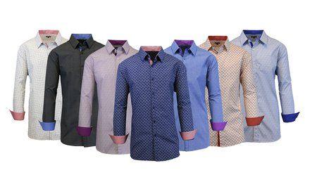 imagem para contraste dos homens de guarnição do botão-Down Slim-Fit Shirt