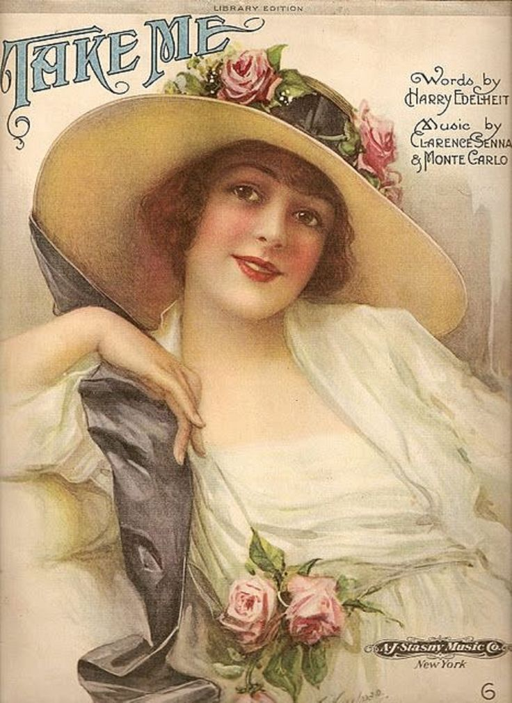 "jackstune: """"Take Me"" 1920 song. beautiful girl art sheet music """