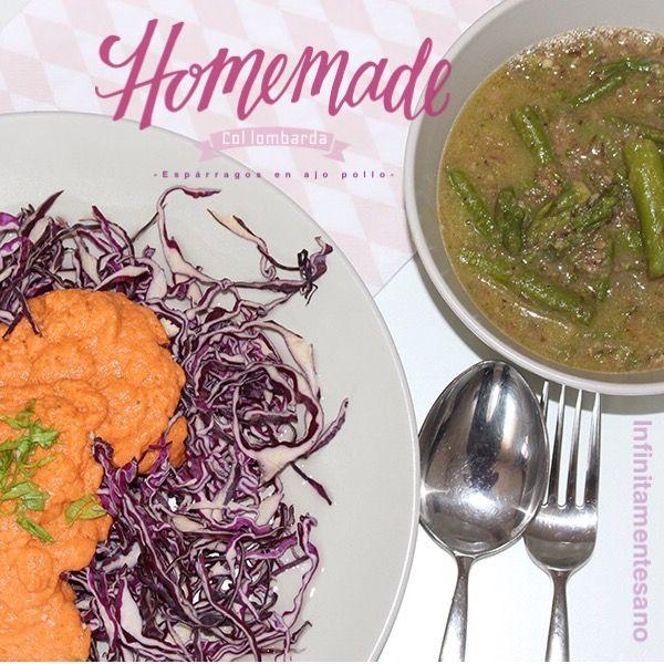 """Ensalada de col lombarda con tomate y albahaca, espárragos en """"ajo pollo"""" #infinitamentesano #veganfood#veggi"""