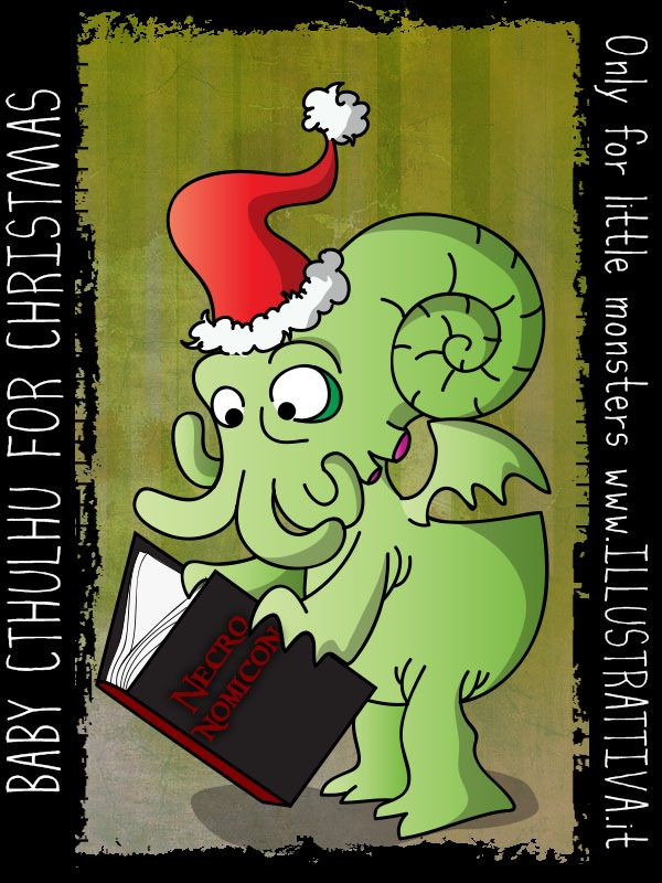 Anche il grande Cthulhu torna bambino per #Natale! -  Baby #Cthulhu for #Christmas. What about making some orrible little monsters wearing Santa Klaus clothes?