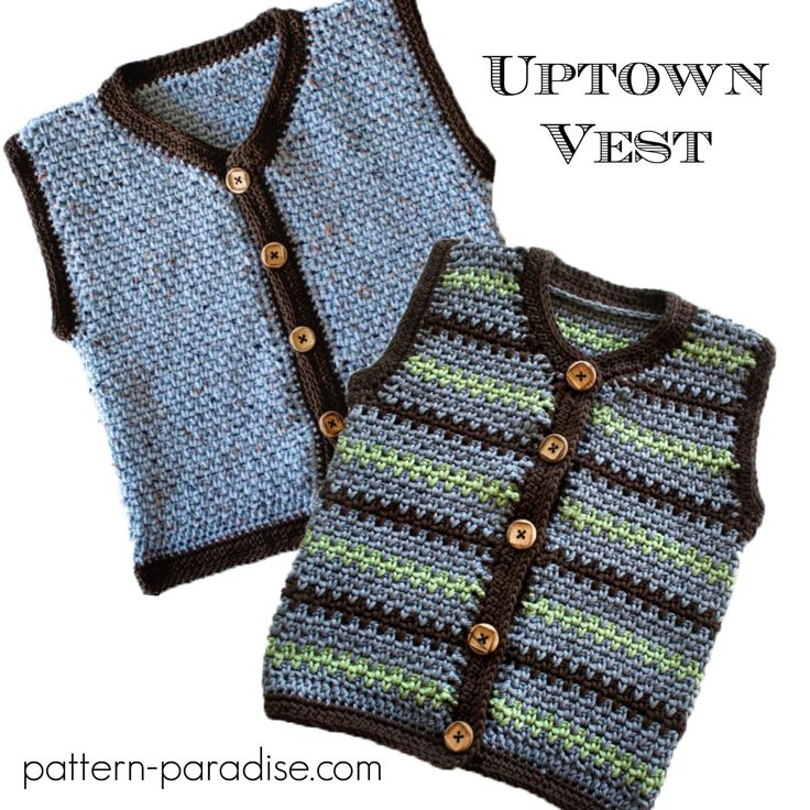 Crochet pattern for kids vest, sizes 3 months to kids 10. Easy textured stitch makes it look great in stripes or solids.