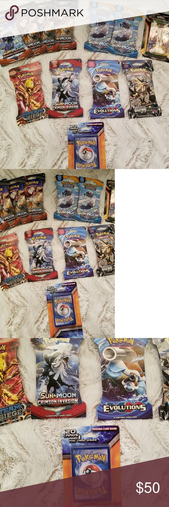 🆕️ 12 Unopened Booster Packs Of Pokemon Cards All BRAND NEW IN PACKS!!🎉🎉 12 UNOPENED BOOSTER PACKS   🐰GREAT EASTER GIFT/ PRESENT🐰  Packs Include: -4 Booster Packs Of Sun&Moon Burning Shadows -2 Booster Packs Of Sun&Moon  -1 Booster Pack Of XY ROARING SKIES Which Includes 5 Extra Pokemon cards -1 XY STEAM SIEGE  -1 Sun&Moon CRIMSON INVASION  -1 Evolutions -1 Sun&Moon ULTRA PRISM -1 PACK OF 20 CARDS AND ONE FOIL ( HOLOGRAPHIC CARD ) Pokemon Other
