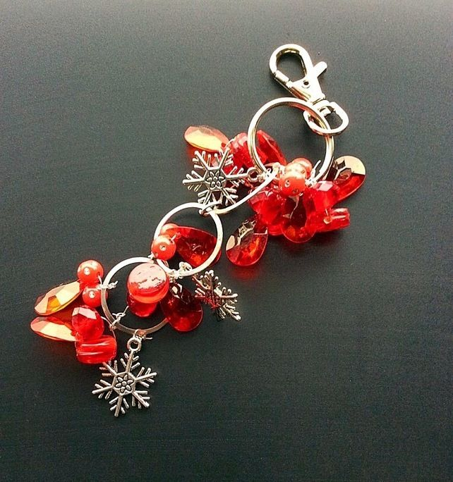 Red bag charms, Christmas zipper charms, bead bag charm, secret santa £7.00