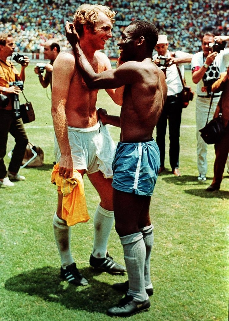 Bobby Moore and Pele at the 1970 World Cup in West Germany.