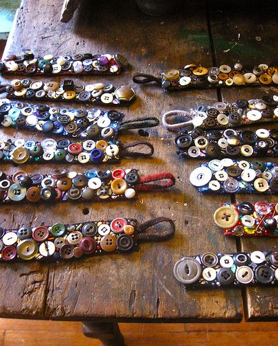 Button bracelets  I made several of these for a church fund raiser.  Pretty and fun to make.