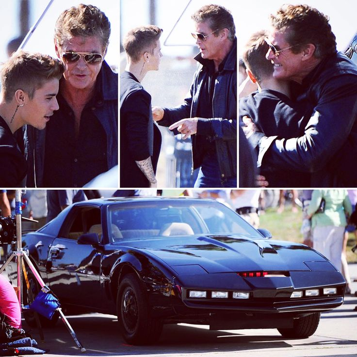 David Hasselhoff was pictured giving pop superstar Justin Bieber a big bear hug when they both teamed up to shoot a comedy movie titled Killing Hasselhoff in Venice Beach, Los Angeles. The movie sees a struggling nightclub owner resort to desperate measures in order to pay off a loan shark. IMDB has Justin Bieber playing the iconic voice of K.I.T.T! © Atlantic Images