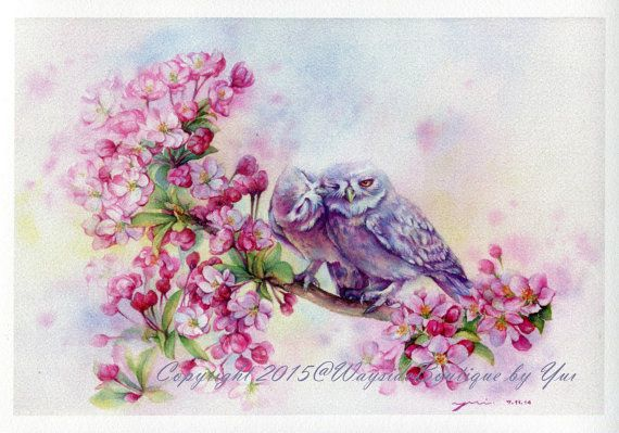 PRINT – First Kiss  Watercolor painting 7.3 x 11""