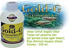 Jelly Gamat gold g adalah suplemen / makanan kesehatan yang dibuat dari ekstrak teripang ( didalam bahasa malaysia disebut dengan gamat ) dari jenis gamat golden stichopus variegatus. Jelly Gamat Gold G merupakan product PT. GNE atau GIT produsen Biogene R & D SDN BHD. Jelly gamat berupa cairan (jeli) memiliki warna yang bening, serta mempunyai cita rasa serta aroma yang netral dengan isi tiap-tiap kemasannya memiliki isi 320 ml.