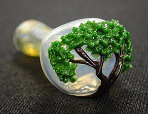 "4.5"" Long Tree of Life Hand Blown Glass Pipe"