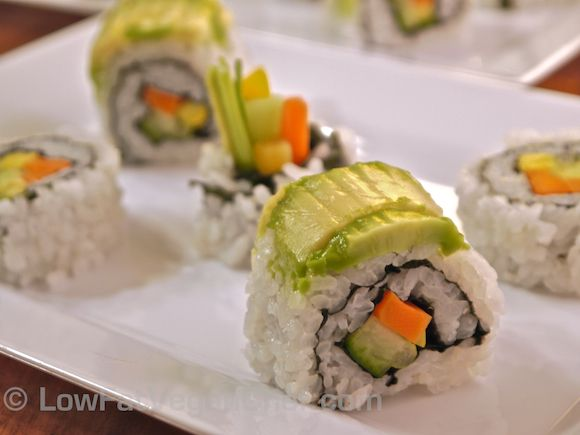 Yes!!! Vegan dragon roll! Could use a bit more avocado on top.     www.lowfatveganchef.com