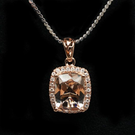 3.09ctw Cushion Halo Diamond Halo Pendant Necklace 14k Rose Gold Morganite Pendant Morganite Necklace Morganite Jewelry