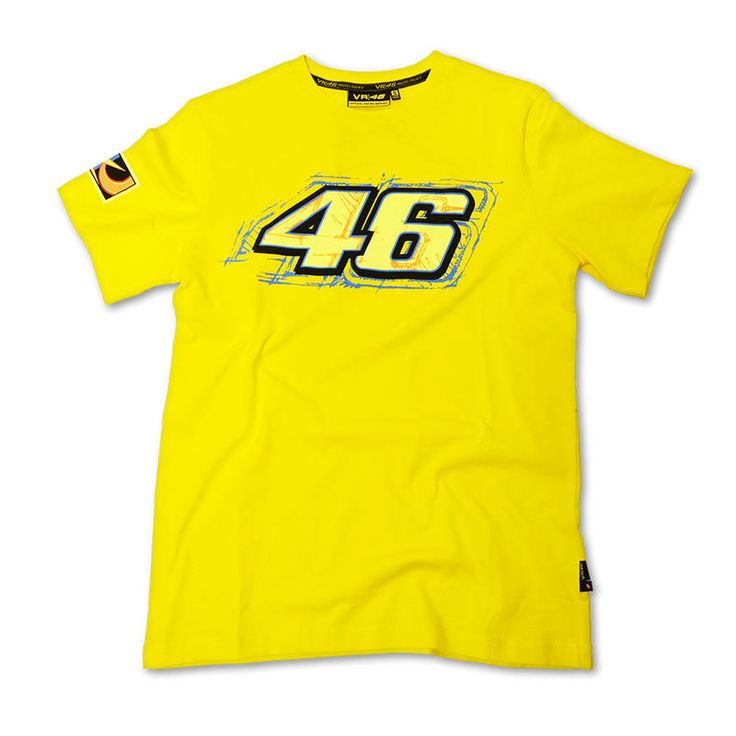 Valentino Rossi Short Sleeve T-Shirt Yellow  Description: VR-46 Official T-Shirt specifications include:                      Short sleeved                    Crew neck collar                    Front graphic logo                    Rear graphic logo                    100% cotton                    Official racing apparel                 ...  http://bikesdirect.org.uk/valentino-rossi-short-sleeve-t-shirt-yellow/