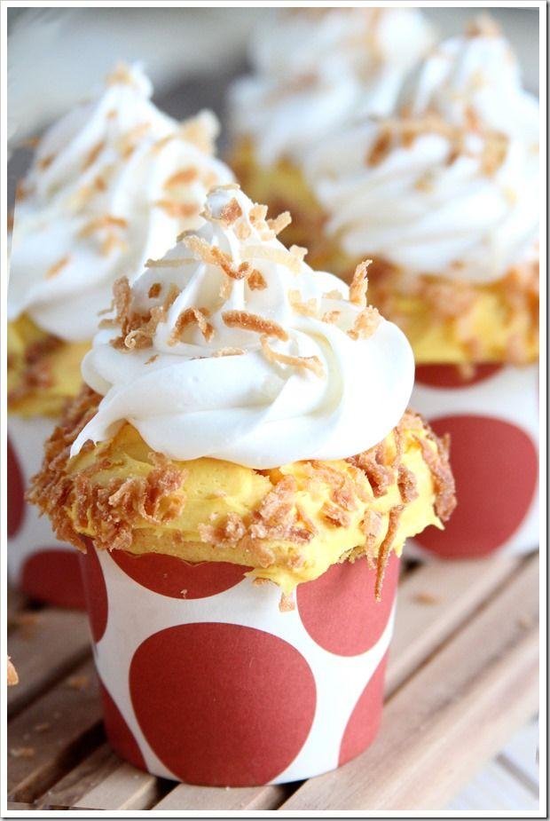 Toasted Coconut Mango Cupcakes ~ Doughmesstic