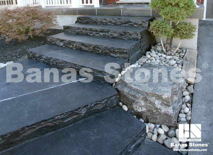 Banas Stones - Limestone Kota Black Toronto with armour stone and river rocks