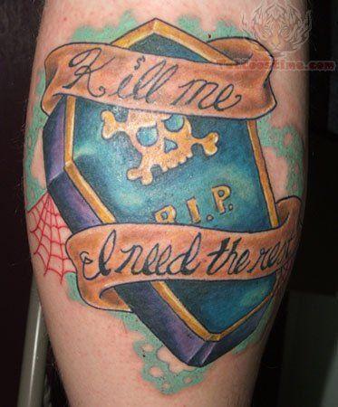 Coffin Blue Ink Tattoo Design