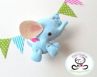 Baby Elephant PDF Sewing Pattern DIY Toy Wild Animals Nursery