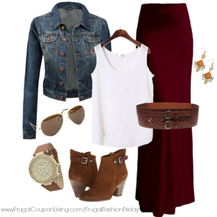 Frugal Fashion Friday October Fall Outfit with cranberry skirt, jean jacket, and classic aviators