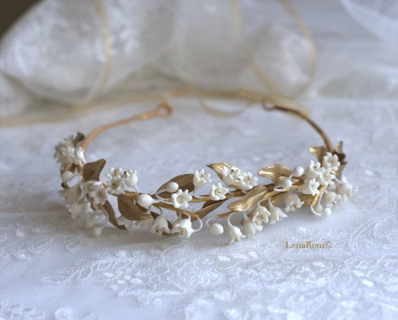 Lily of the valley headpiece. Bridal crown. Gold bridal headpiece. Bridal…