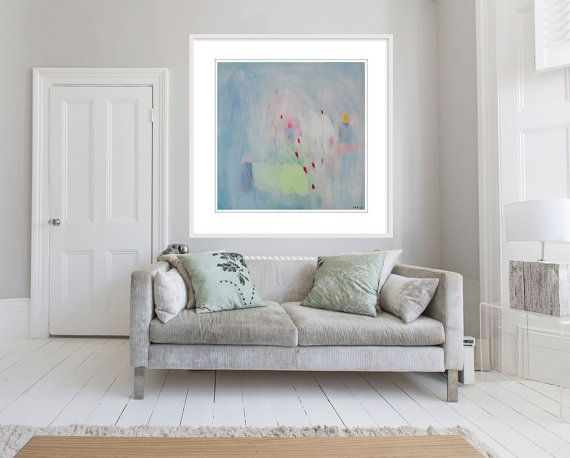 Large ABSTRACT PRINT of Painting blue green giclée print