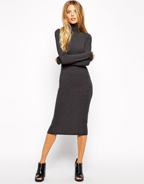 Enlarge ASOS Midi Bodycon Dress with Polo Neck and Long Sleeves