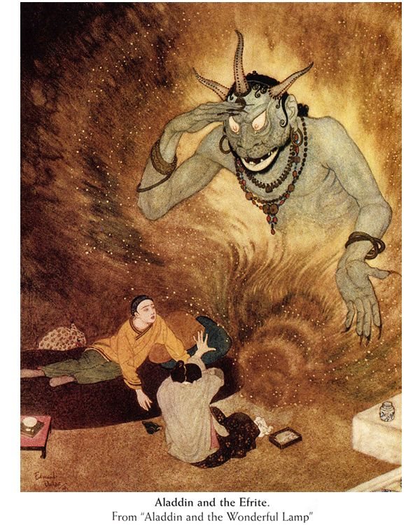 "Edmund Dulac's ""Aladdin and the Wonderful Lamp"", 1914, Dover Publications."