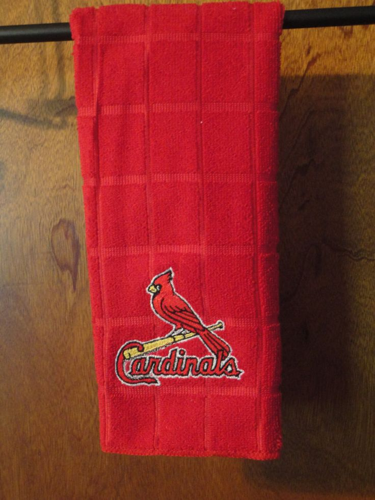 St Louis Cardinals Baseball - Embroidered Kitchen Towel -Red Kitchen Towel by cybergeeks2 on Etsy