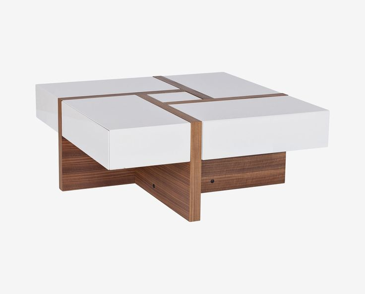 Scandinavian Designs - As the center of any living room, the coffee table should be dynamic. The Prindy coffee table is just that. The unique, contemporary design features walnut and glossy white piecing for contrast and visual interest. Three drawers offer storage and organization.
