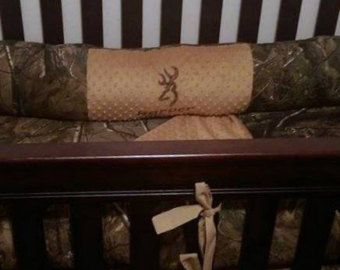 New 7 piece Max 4 brown real tree CAMOUFLAGE baby crib bedding
