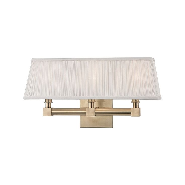 Hudson Valley Dixon 3 Light Aged Brass Wall Sconce (Aged Brass, Off White
