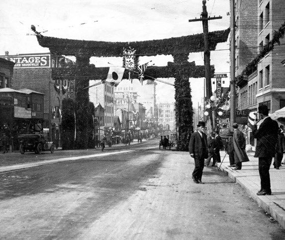 A Japanese arch at the corner of Main and Hastings was built for the visit of the Duke and Duchess of Connaught and Princess Patricia in 1912.