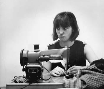 Marion Foale with her sewing machine, 1963